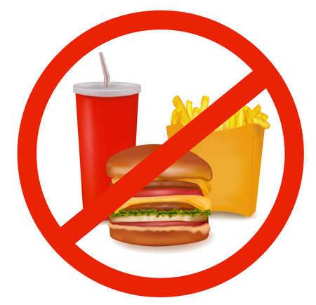 comida chatarra: Ilustraci�n vectorial de calidad fotogr�fica. Etiqueta de peligro de comida r�pida (color).  Vectores