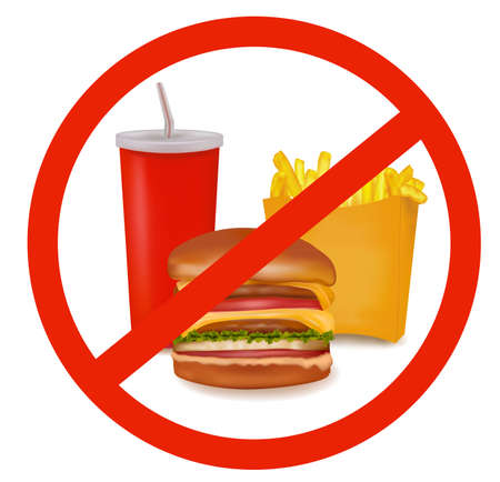 unhealthy food: Photo-realistic vector illustration. Fast food danger label (colored).  Illustration