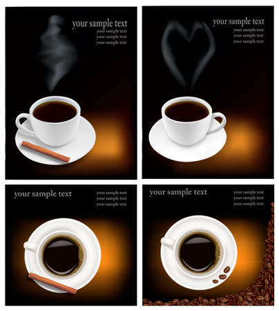 Four design backgrounds with coffee. Vector.  Vector