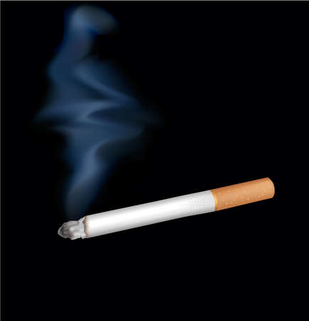vices: Smoking cigarette. Isolated on black. Closeup.
