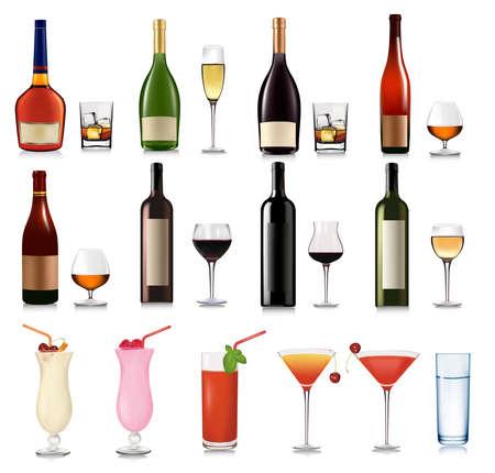 cocktail umbrella: Big set of drinks. Vector.