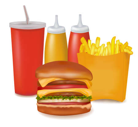 Photo-realistic vector. Group of fastfood products.  Stock Vector - 9108495