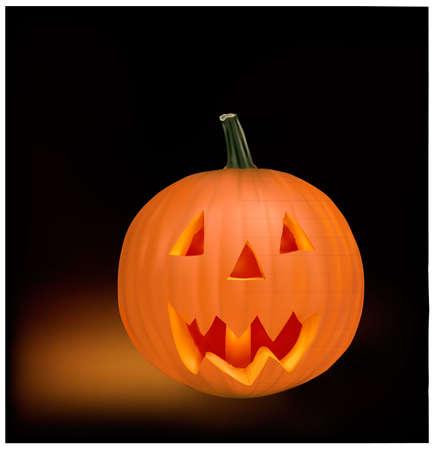 Halloween pumpkin vegetable fruit isolated on black background. Vector Stock Vector - 9108486