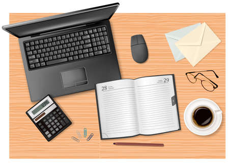 notepad background: Notebook, calculator and office supplies on the table. Vector.  Illustration