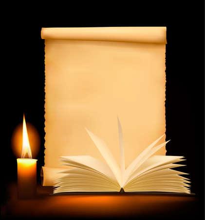 copertina libro antico: Sfondo con la vecchia carta, candela e libro aperto.  Vettoriali