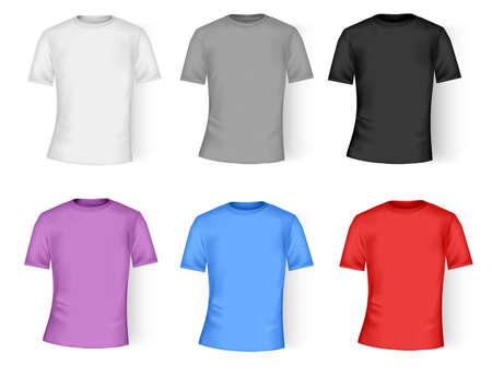 t short: Color and white t-shirt design template. Photo-realistic vector illustration.