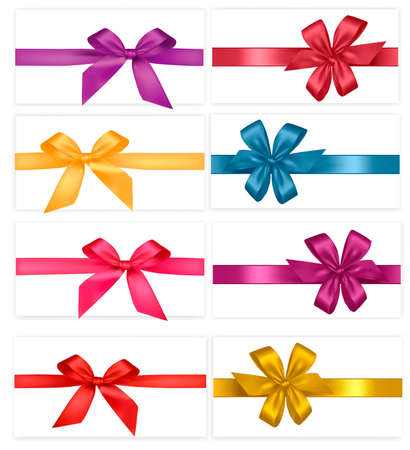 red ribbon bow: Big collection of colored gift bows. Vector.  Illustration
