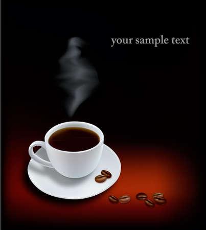 chicchi caff� su sfondo bianco: Tazza di caff� su sfondo nero. Foto-realistica vettoriale.  Vettoriali
