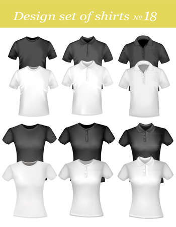 photorealistic: Black, grey and white men polo shirts and t-shirts. Photo-realistic vector illustration