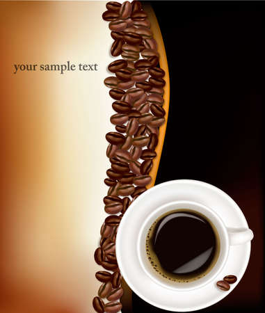 caffeine: Cup of coffee with coffee grains . Photo-realistic vector.  Illustration