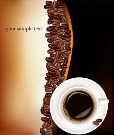granos de cafe: Taza de café con granos de café. Vector de calidad fotográfica.