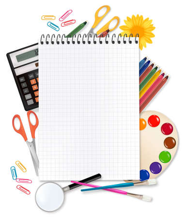 notebook paper background: Back to school. Notepad with supplies. Vector.  Illustration