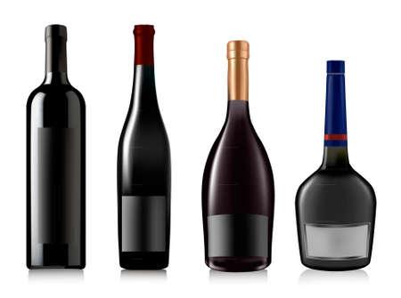 full red: Set di bottiglie diverse. Illustrazione vettoriale.