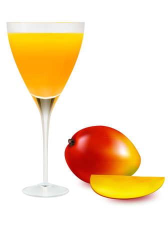 orange splash: Mango fresh juice on glass. Vector illustration