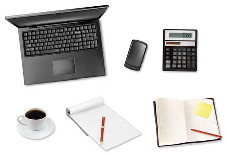Notebook, calculator and office supplies. Vector.  Stock Vector - 9108914