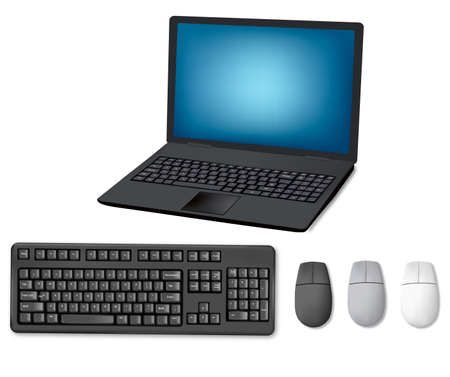 key pad: Laptop, keyboard and mouse. Illustration for your design project. Vector