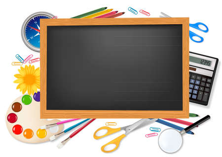 Back to school. Black desk with supplies. Vector. Stock Vector - 9108893
