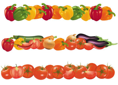 roasting: Vegetable design borders isolated on white. Vector.  Illustration