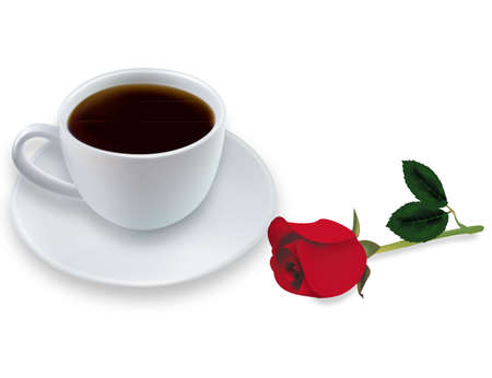Cup of coffee with rose. Photo-realistic vector. Stock Vector - 9108520
