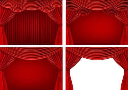 recital: Four backgrounds with red velvet curtains. Vector illustration.
