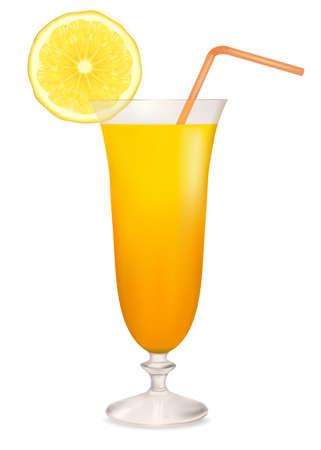 Orange cocktail in glass and lemon slice. Vector illustration.  Vector
