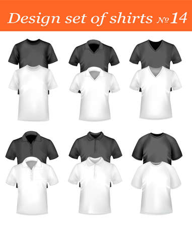 Black, white and colored men polo and t-shirts. Photo-realistic vector illustration  Vector