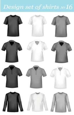 ポロ: 黒、白および着色された男性ポロ t シャツ写実的なベクトル イラスト