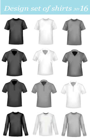 polo t shirt: Black, white and colored men polo and t-shirts. Photo-realistic vector illustration