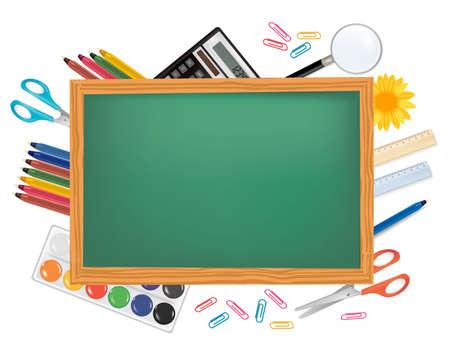 Blackboard with school supplies. Vector.