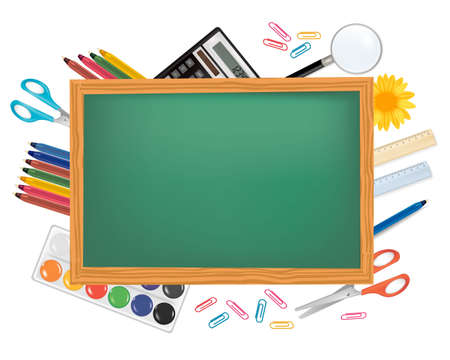 ball pen: Blackboard with school supplies. Vector.