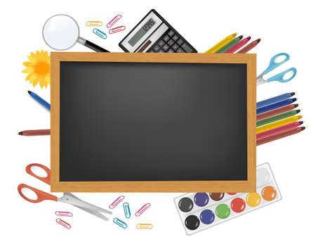 Blackboard with school supplies. Vector. Stock Vector - 9214692
