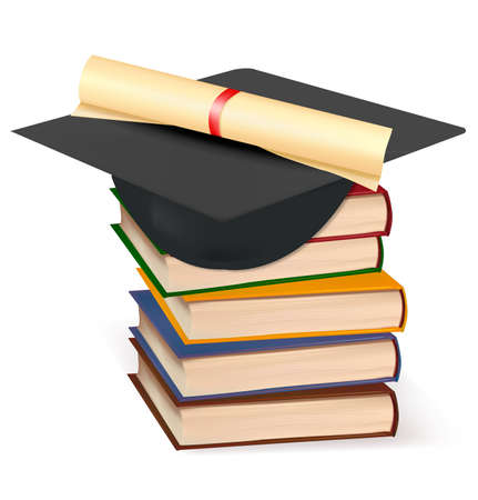 Graduation cap and diploma laying on stacks of books. Vector.  Stock Vector - 9214690