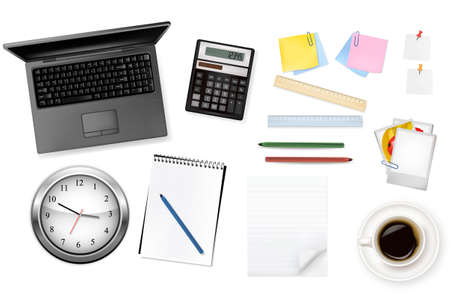 Keyboard, clock and office supplies. Vector. Stock Vector - 9214722