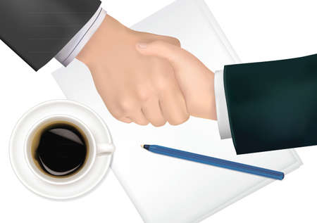 hands on keyboard: Handshake over paper and pen. Photo-realistic vector illustration.  Illustration