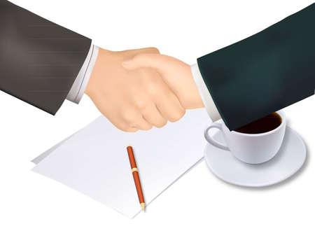 mani che si stringono: Stretta di mano sopra carta e penna. Illustrazione vettoriale foto-realistica.