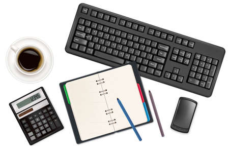 Keyboard and office supplies. Vector. Stock Vector - 9214689