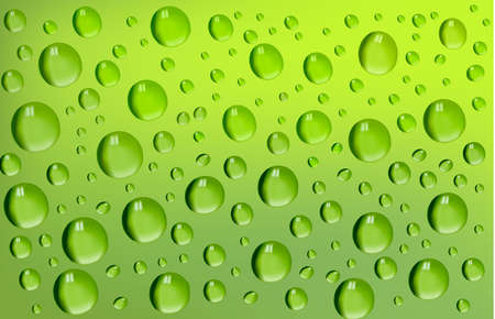 refreshed: water-drops on green background.Vector Illustration