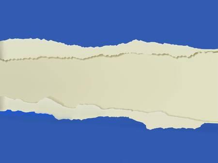 cartone strappato: Strappato sfondo blu. Illustrazione vettoriale. Vettoriali