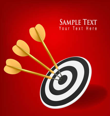 Gold darts hitting a target. Success concept. Vector illustration Stock Vector - 9214644