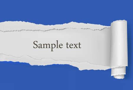 ecartel�: Arrach� � fond de papier bleu. Illustration vectorielle.  Illustration