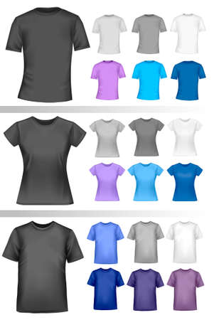 clothing shop: Black and white male and female polo shirts. Photo-realistic vector illustration