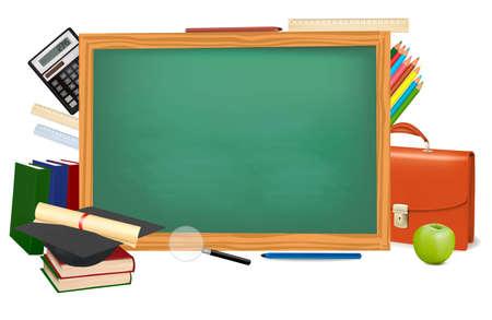 Regreso a la escuela. Mesa Verde con material escolar. Vector.