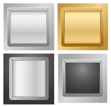 Four glossy metallic plates on a textured backgrounds. Vector illustration Vector