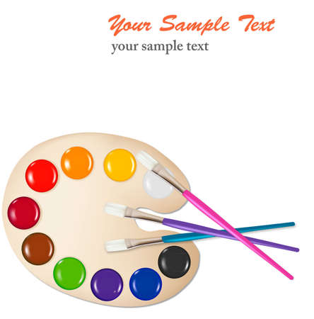 Palette with color paints and brushes. Vector illustration. Stock Vector - 9214702