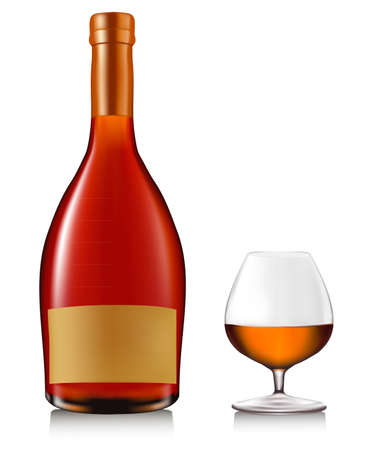 Bottle with brandy and glass with ice isolated on white. Vector.
