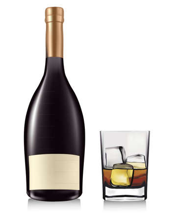 Bottle and whiskey in glass. Vector.  Vector