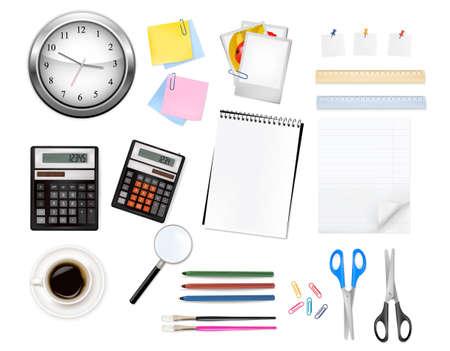 A clock, calculator and some office supplies. Vector.  Vector