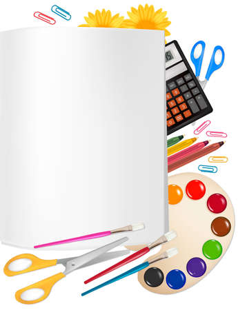 Back to school. Notepad with school supplies. Stock Vector - 9219162