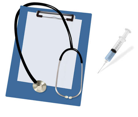Stethoscope on the blank clipboard and syringe. Vector.  Vector
