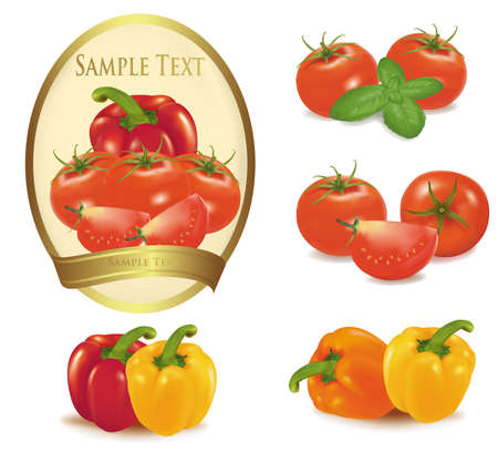 tomato juice: Gold label with different sorts of vegetables. Vector.